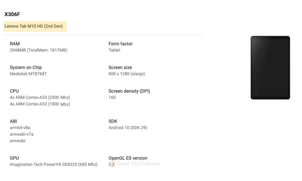 Lenovo Tab M10 HD (2nd Gen) Full specs revealed as it spotted on Google Play Console