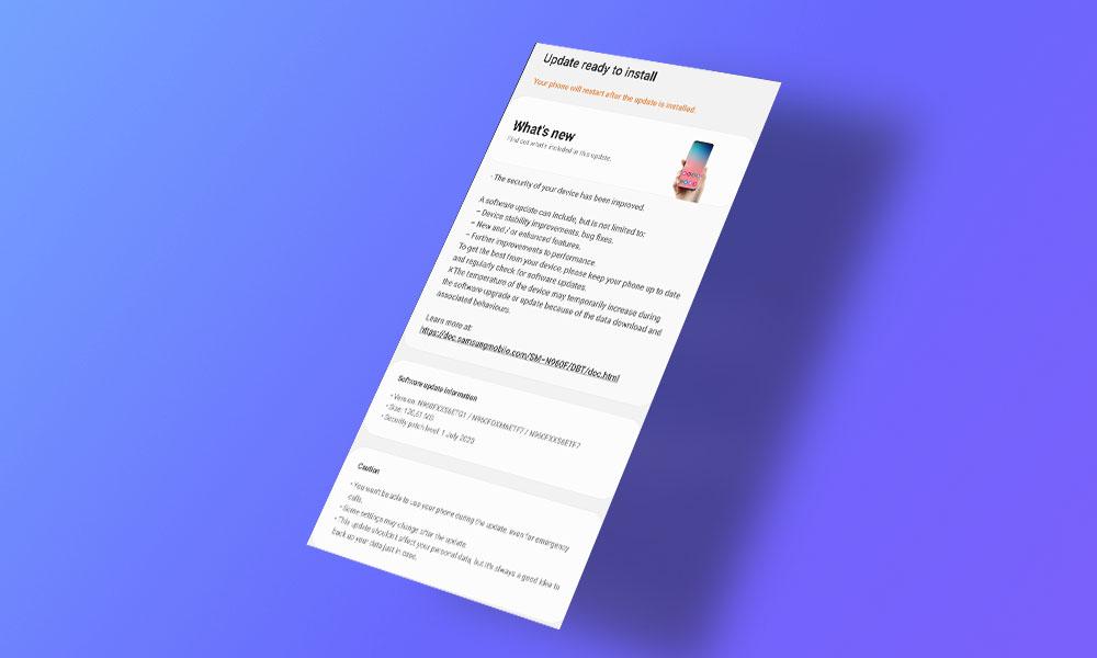 N960FXXS6ETG1/N960FOXM6ETF7: Galaxy Note 9 gets July security update