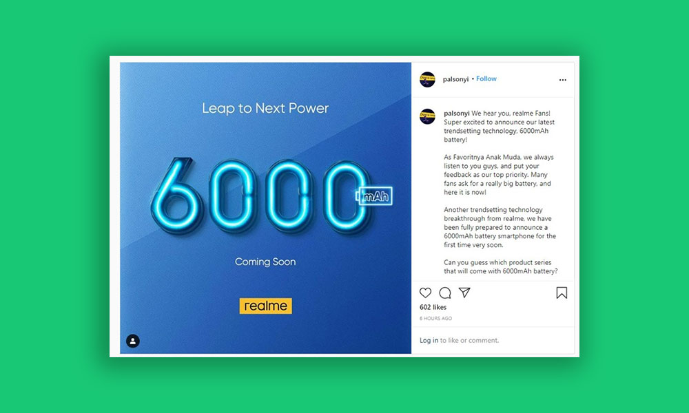 Realme may release a phone with 6000mAh battery soon