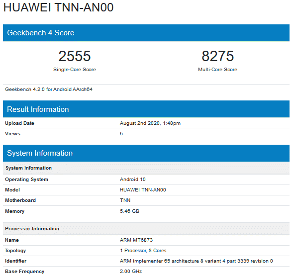 Huawei Enjoy 20s - Geekbench