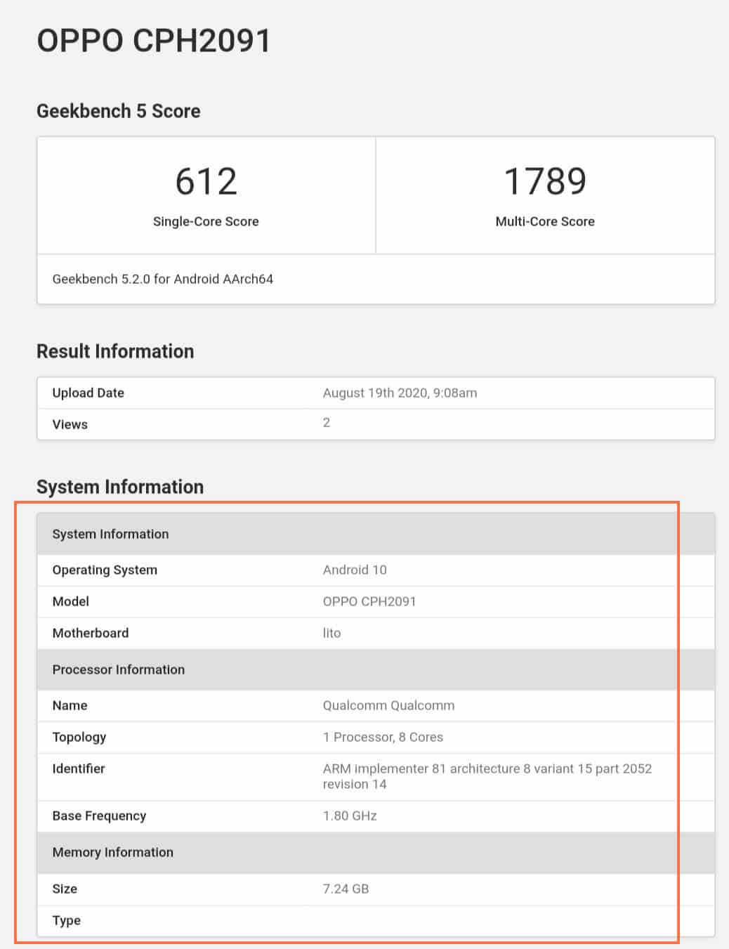 Oppo Reno 4 5G with 8GB RAM, Snapdragon 765G SoC spotted on Geekbench