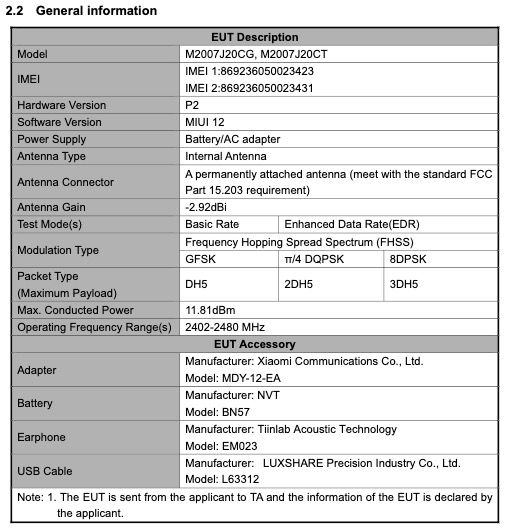 POCO-M2007J20CG - FCC