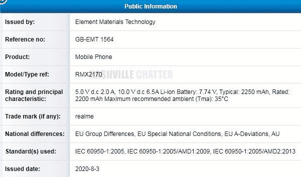 Realme X3 Pro - TUV certificate