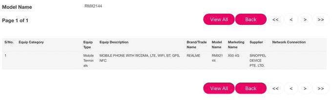 Realme X50 4G variant - IMDA