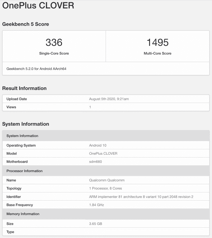 OnePlus CLOVER with Snapdragon 660 SoC, 4GB RAM and Android 10 spotted on Geekbench