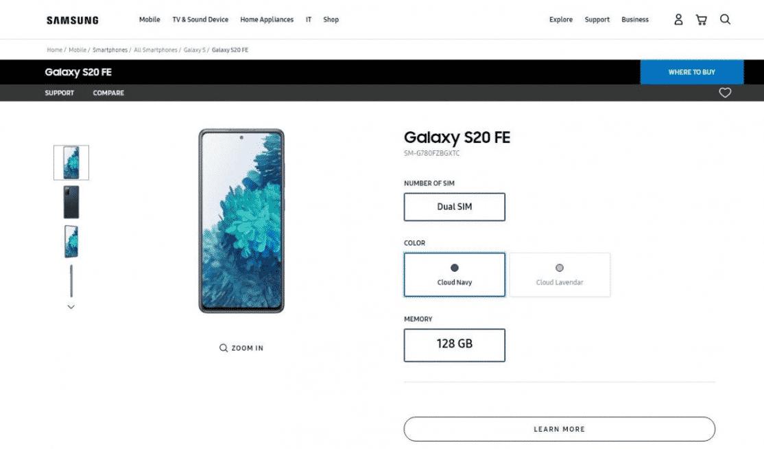 Galaxy S20 FE - listing