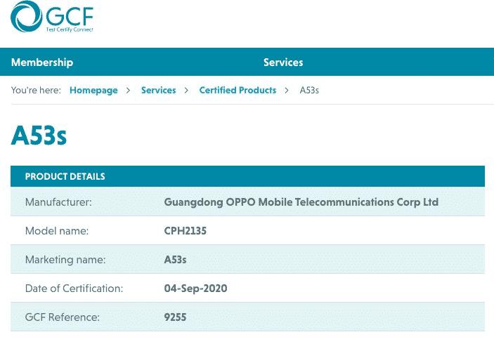 OPPO A53s - GCF certificate