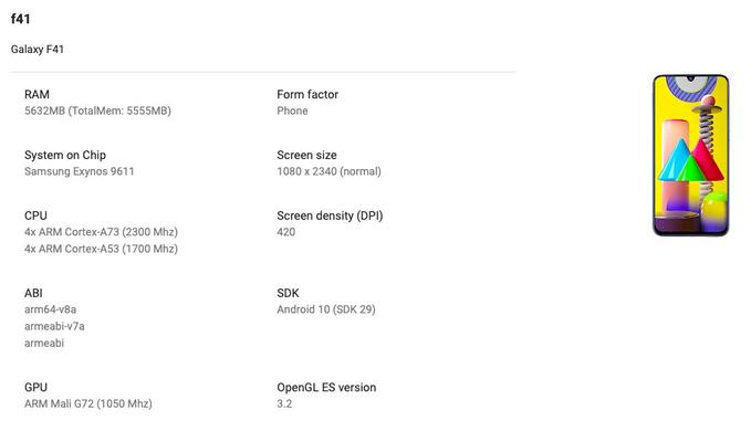 Samsung Galaxy F41 - Google Play Console