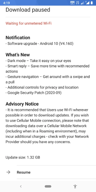 Nokia 3.1 Android 10 update