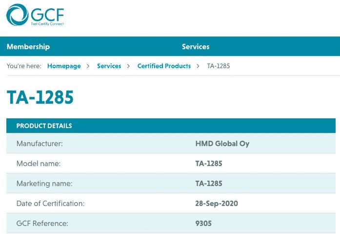 Nokia TA-1285 GCF