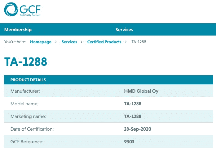 Nokia TA-1288 GCF