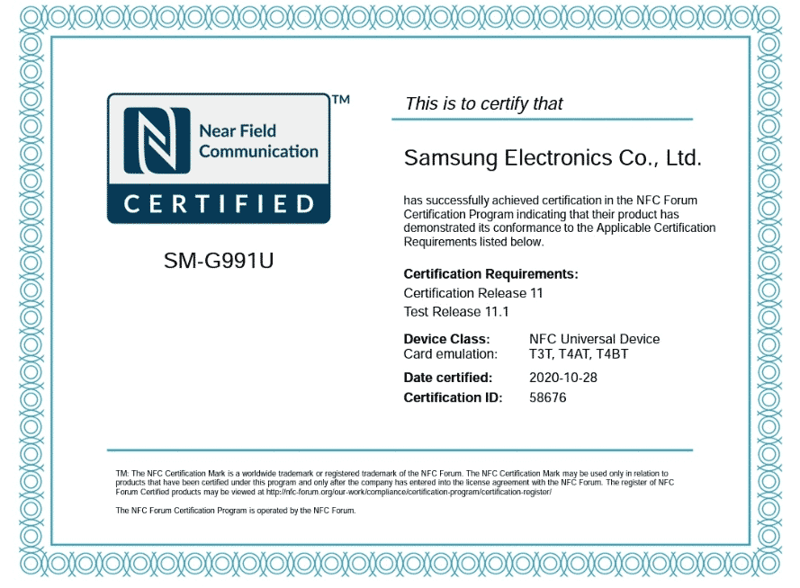Samsung Galaxy S21 NFC certificate
