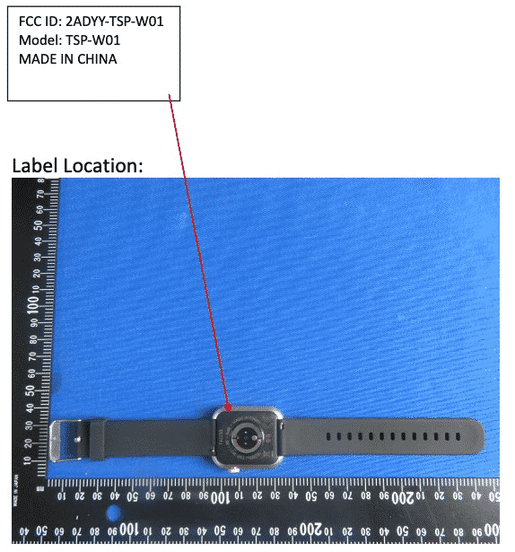 Tecno Smart Watch (TSP-W01) FCC image