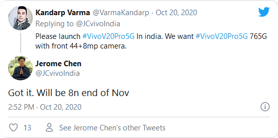 Vivo India CEO twitter reply