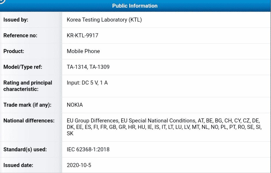 Nokia TA-1314 - KTL certificate