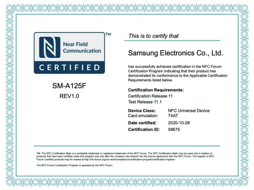 Samsung Galaxy A12 NFC certificate