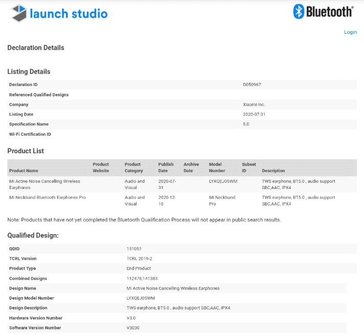 Mi Neckband Bluetooth Earphones Pro - Bluetooth SIG certification