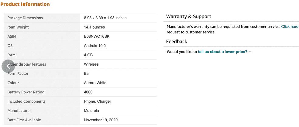 Moto G Stylus (2021) Amazon listing(1)