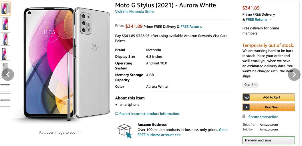 Moto G Stylus (2021) Amazon listing(2)
