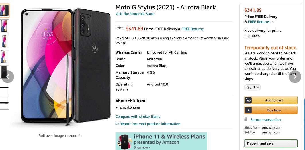 Moto G Stylus (2021) Amazon listing(3)
