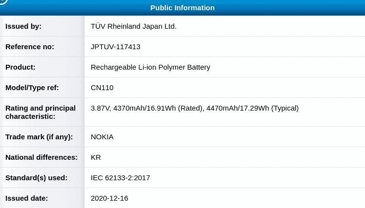 Nokia CN110 battery - TUV Certification