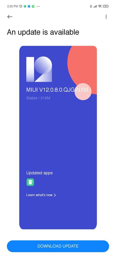 V12.0.8.0QJGINXM - Indian POCO X3 MIUI 12.0.8 Update Released (Download OTA)