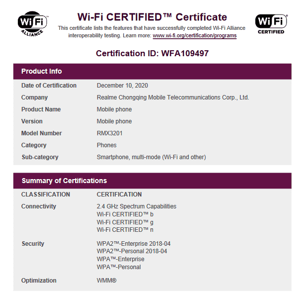 Realme RMX3201 on Wi-Fi Alliance