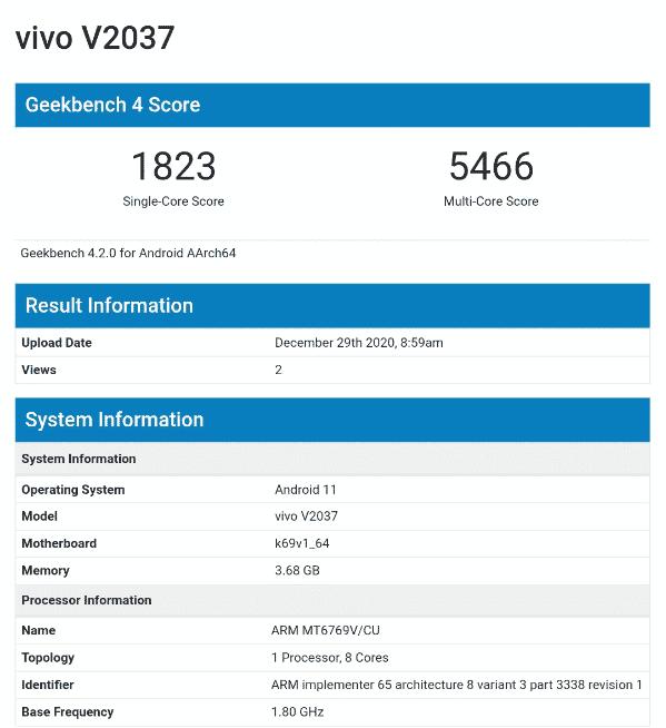 Vivo V2037 Geekbench report