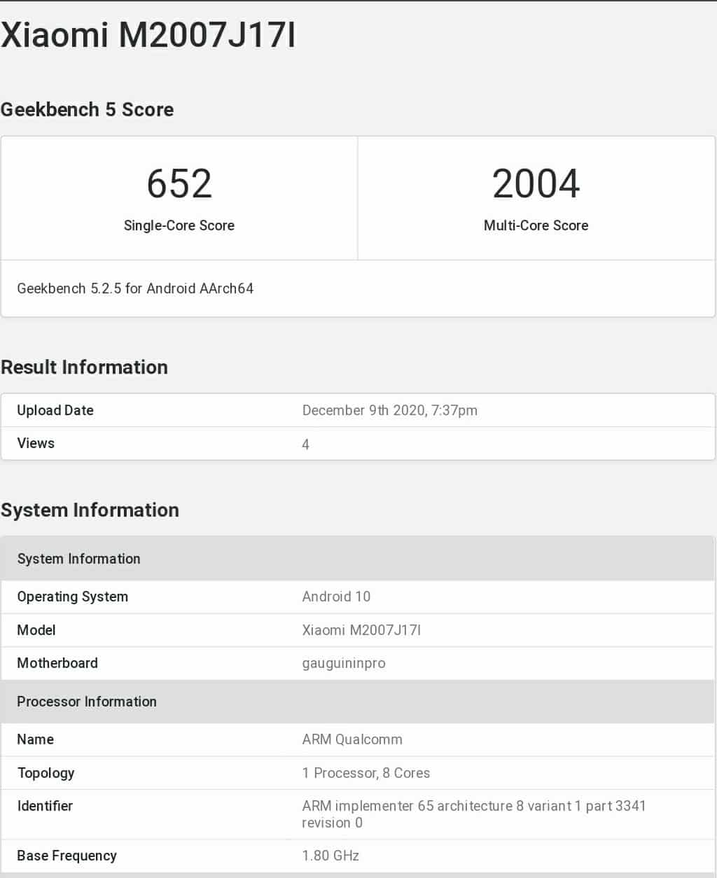 Xiaomi Mi 10i 5G appears on Geekbench With 8GB RAM and SD 750G