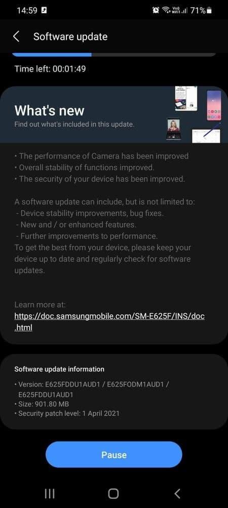 Galaxy F62 - April 2021 update